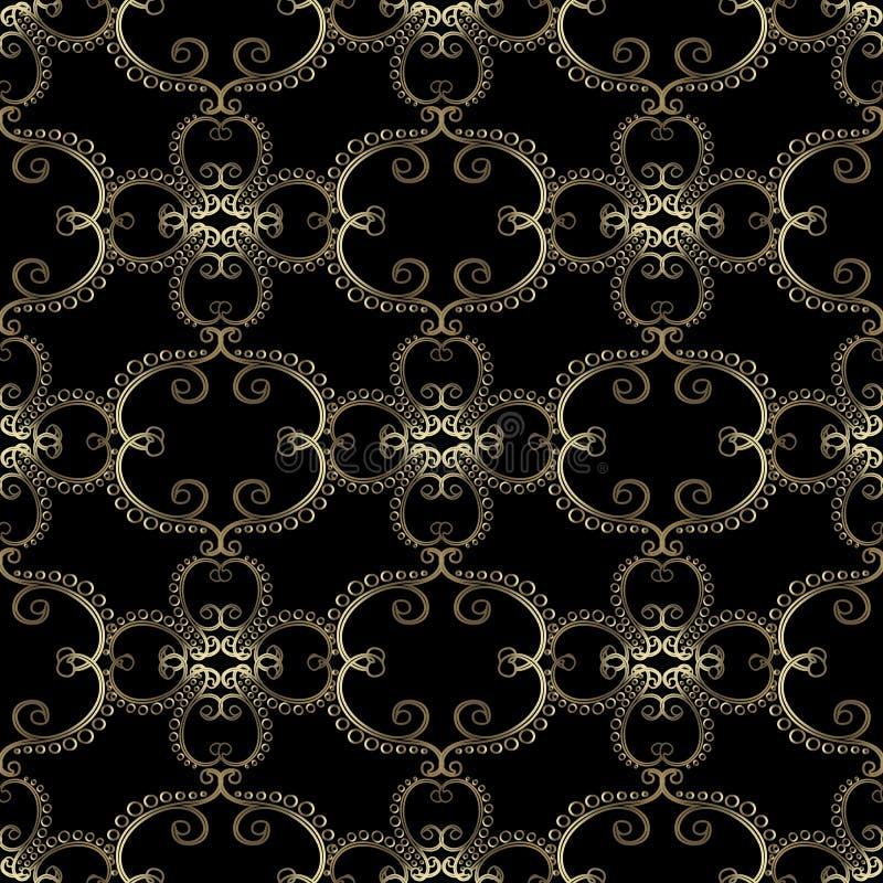 Vintage gold arabesque floral vector seamless pattern. Arabic style oriental ornate background. Elegance line art tracery golden. Flowers, leaves, curves royalty free illustration