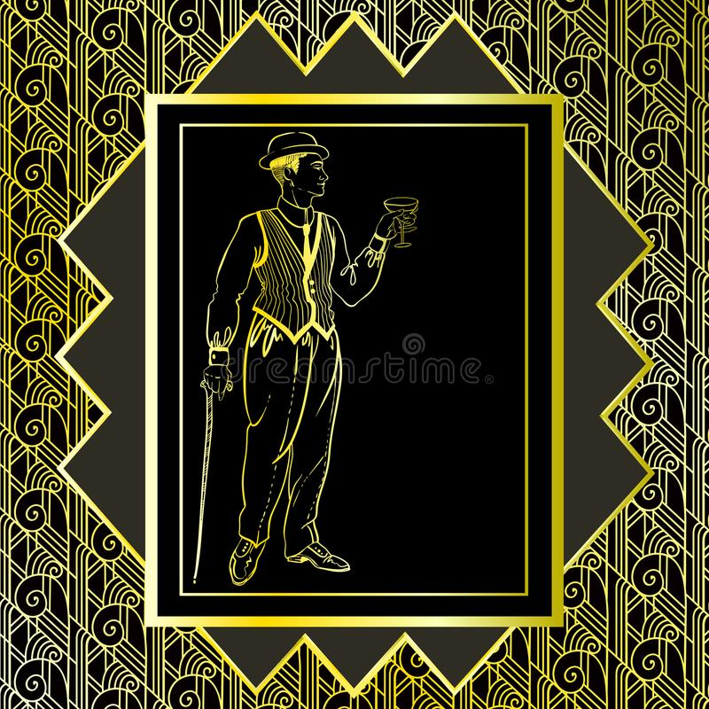 Vintage gold background. Retro party invitation design. 1920s stock illustration