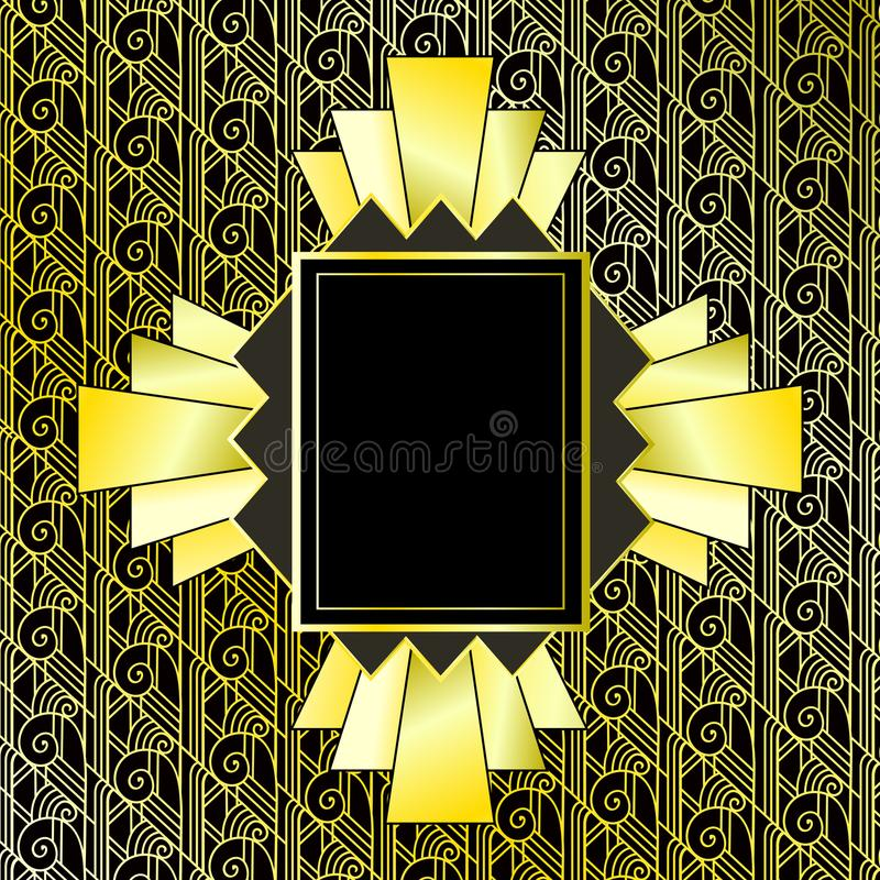 Free Vintage Gold Background. Retro Style Frame Of 1920s. Vector Illustration. Royalty Free Stock Image - 120117766