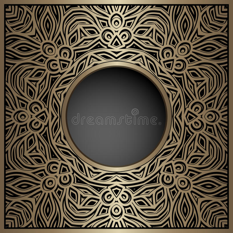 Vintage Gold Background With Round Hole Stock Vector - Illustration ...