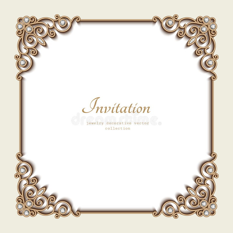 Free Vintage Gold Background, Square Jewelry Frame Royalty Free Stock Image - 65915126