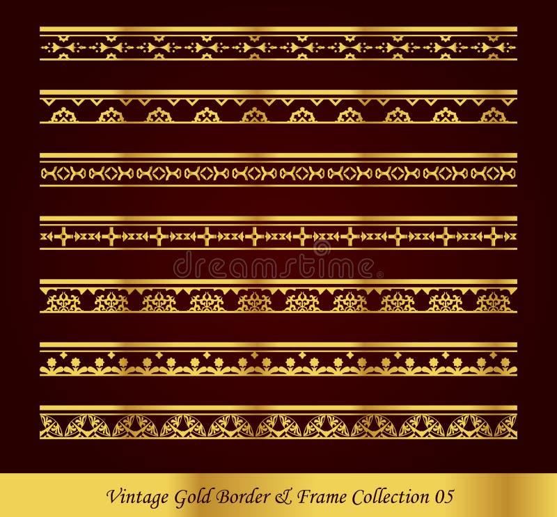 Vintage Gold Border Frame Vector Collection 05 royalty free illustration