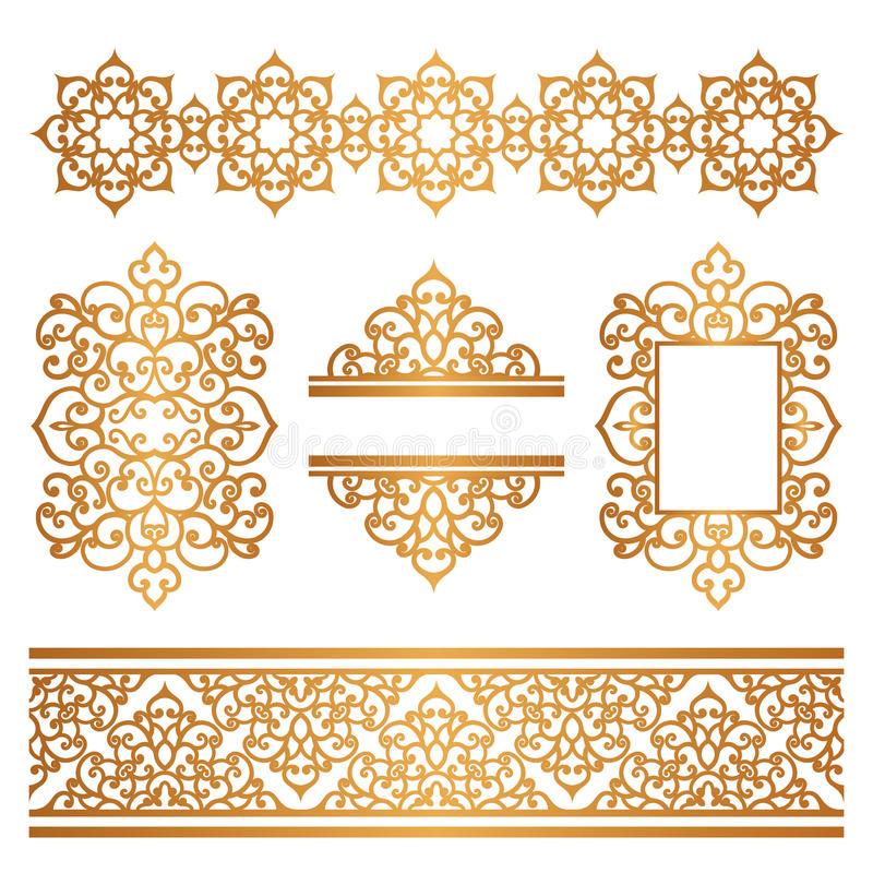 Vintage Gold Borders And Frames On White Stock Vector - Illustration ...