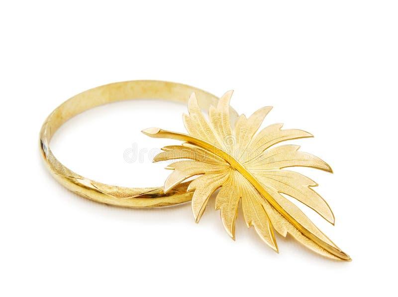 Download Vintage Gold Bracelet And Brooch Stock Photo - Image of white, leaf: 13691866