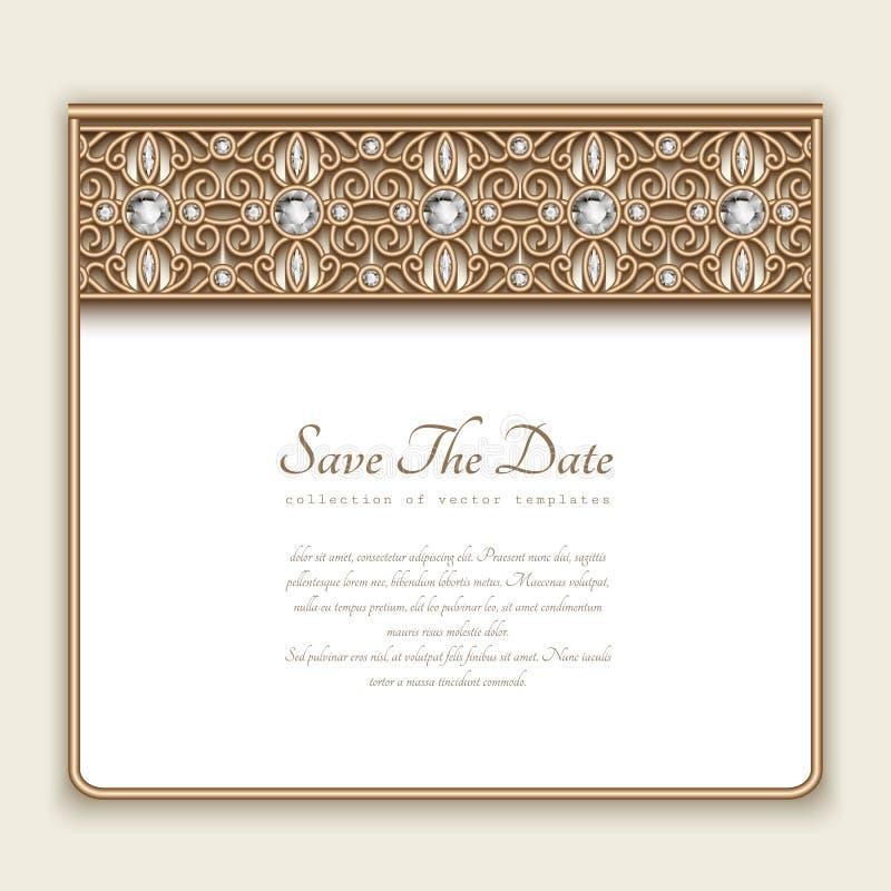 Diamond Wedding Invitation Label: Vintage Gold Card With Diamond Jewelry Border Stock Vector