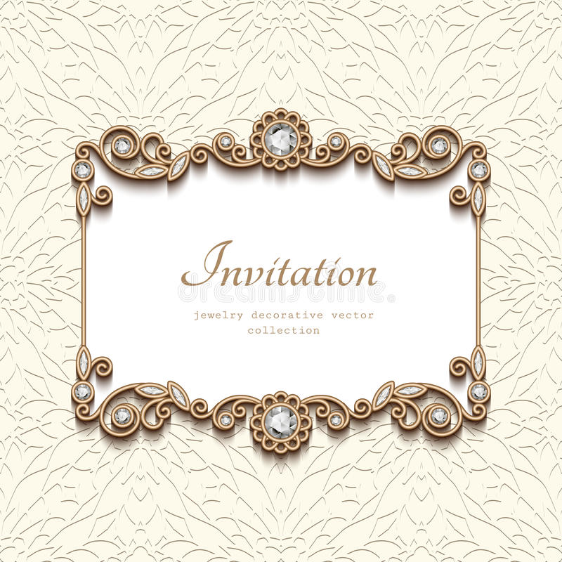 Free Vintage Gold Card With Diamond Jewelry Decoration Royalty Free Stock Photography - 99165057
