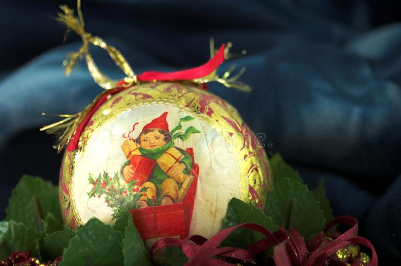 Vintage gold christmas ball stock images