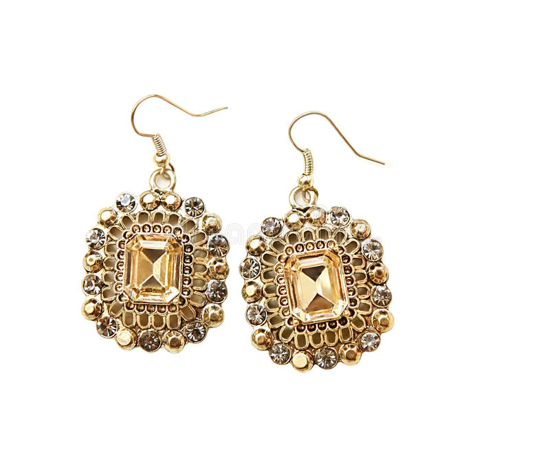 Gold Crystal Earrings Royalty Free Stock Photography