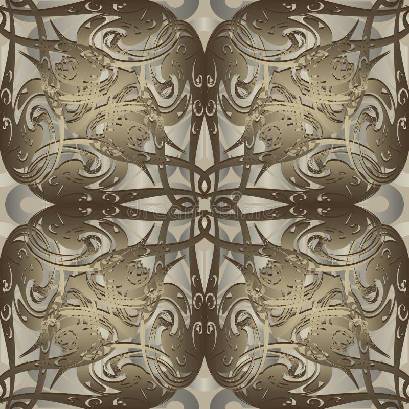 Vintage gold 3d vector seamless pattern. Baroque Damask ornament vector illustration