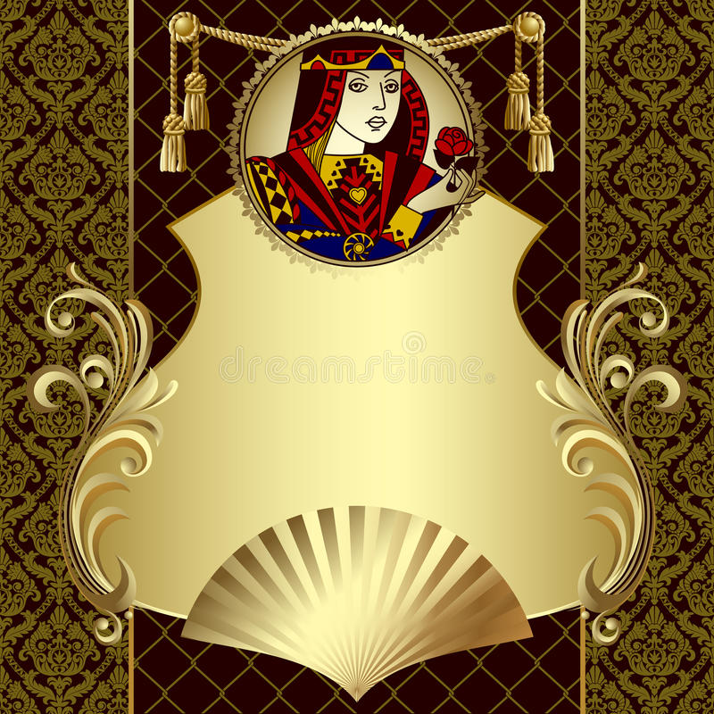 Vintage gold design template with playing cards character vector illustration
