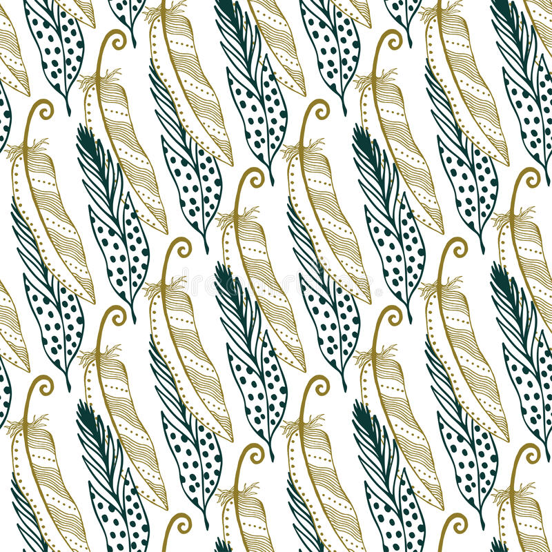 Vintage gold feathers seamless background. Hand drawn illustration. Vintage bohemian tribal feathers background. stock illustration