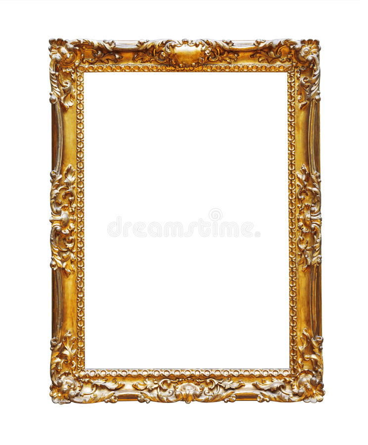 Vintage gold frame isolated. On white background royalty free stock images