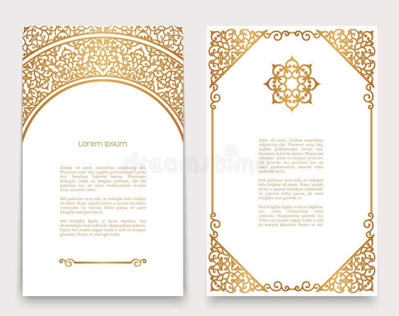 Vintage cards with gold border pattern. Vintage gold frames with swirly border pattern, ornate golden decoration for greeting card or invitation design stock illustration