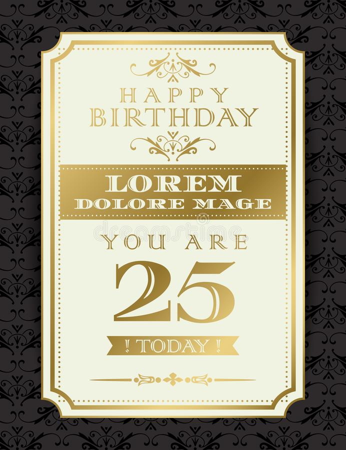 Vintage Gold Happy Birthday border and frame on black damask background for greeting card, Birthday card. Vintage Gold Happy Birthday typography border and frame vector illustration