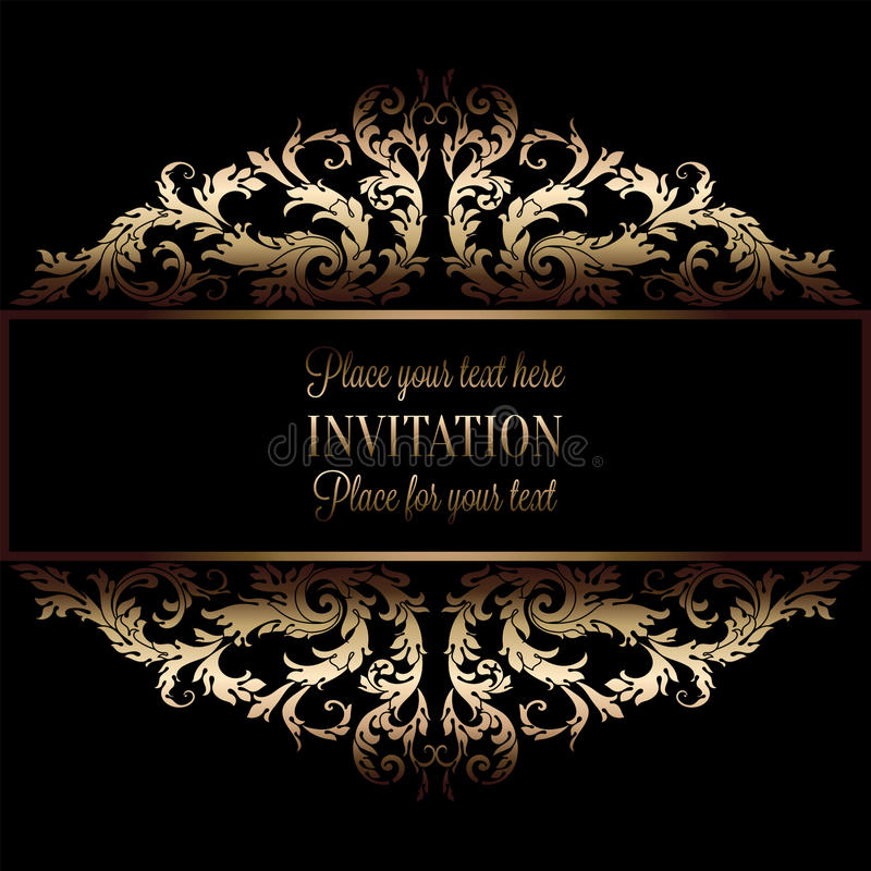 Vintage gold invitation or wedding card on black background divider vintage gold invitation or wedding card on black background divider header ornamental lacy vector frame stopboris Gallery