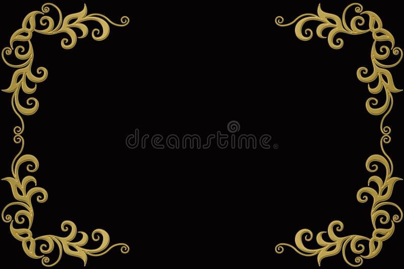 Vintage background with golden frame. Vintage gold jewelry background, vector jewellery frame with seamless border ornament royalty free illustration