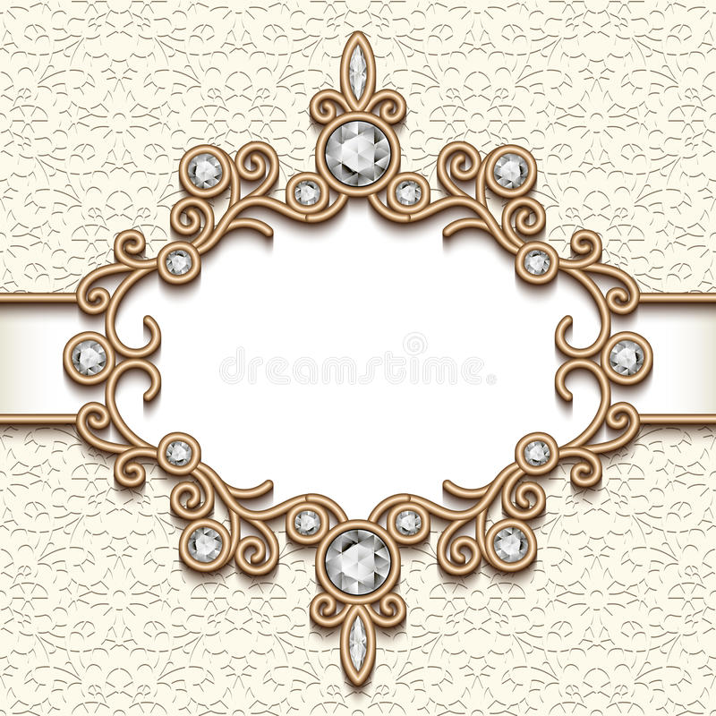 Vintage Gold Jewelry Vignette Stock Vector Illustration of