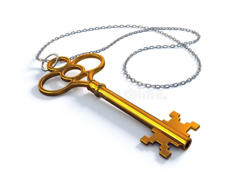Vintage gold key royalty free illustration