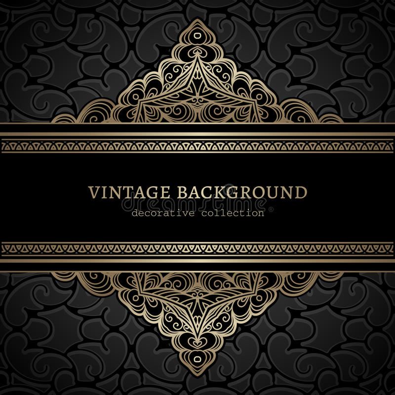 Vintage gold lacy background stock illustration
