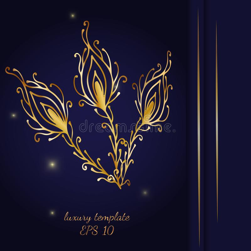 Vintage gold line luxury wedding background with peacock feather vector illustration