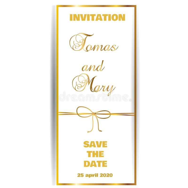 Vintage gold line luxury wedding background with ribbon and bow stock illustration
