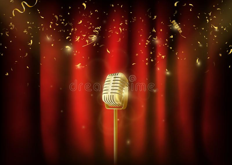 Vintage gold metal microphone. Red curtain background with spo. Tlight. Mic on empty theater stage. Stand up comedian night show or karaoke party background royalty free illustration