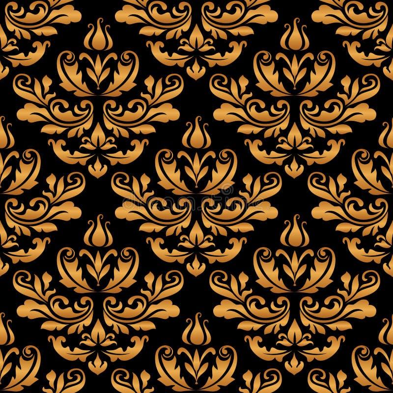 Vintage Gold Ornament Damask Seamless Pattern For Wallpaper Design Ornate Background With Golden Swirls On Black