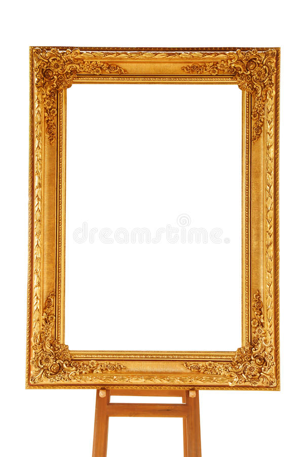 Download Vintage Gold Picture Frame With Wooden Easel Stock Photos - Image: 21225883