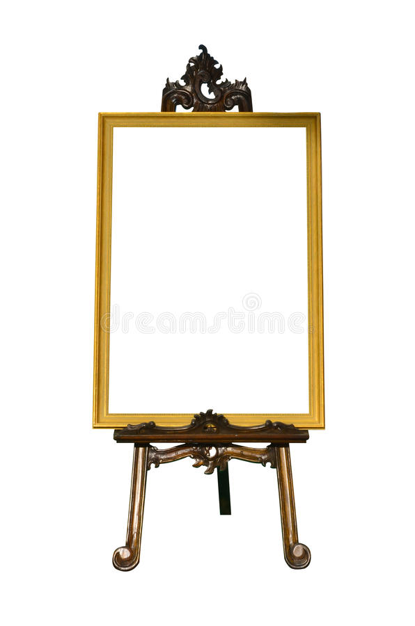 Vintage Gold Picture Frame With Wooden Easel Stock Photo - Image of ...