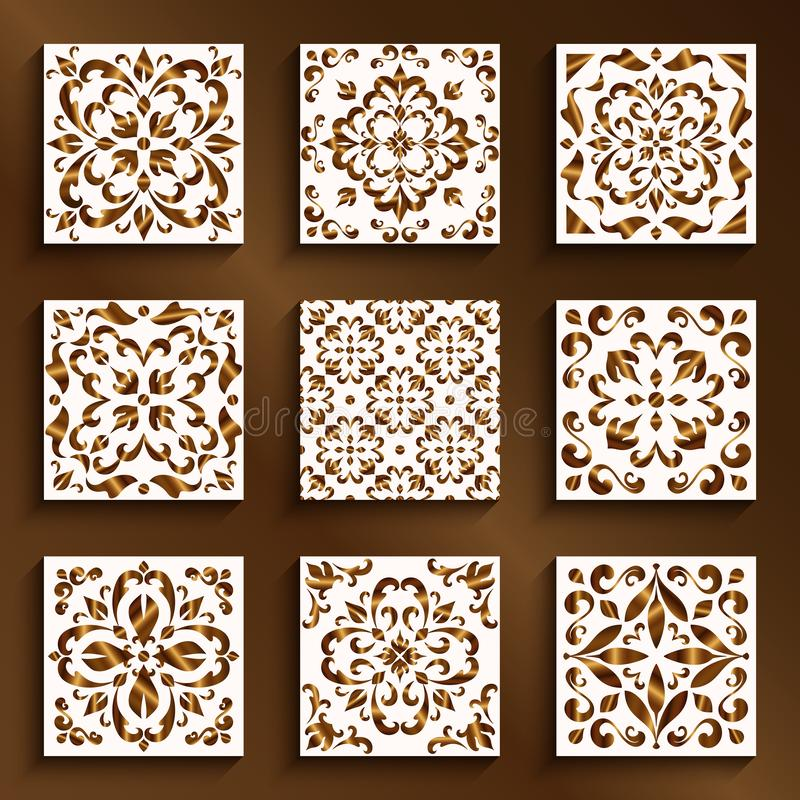Vintage gold tiles with swirly patterns vector illustration