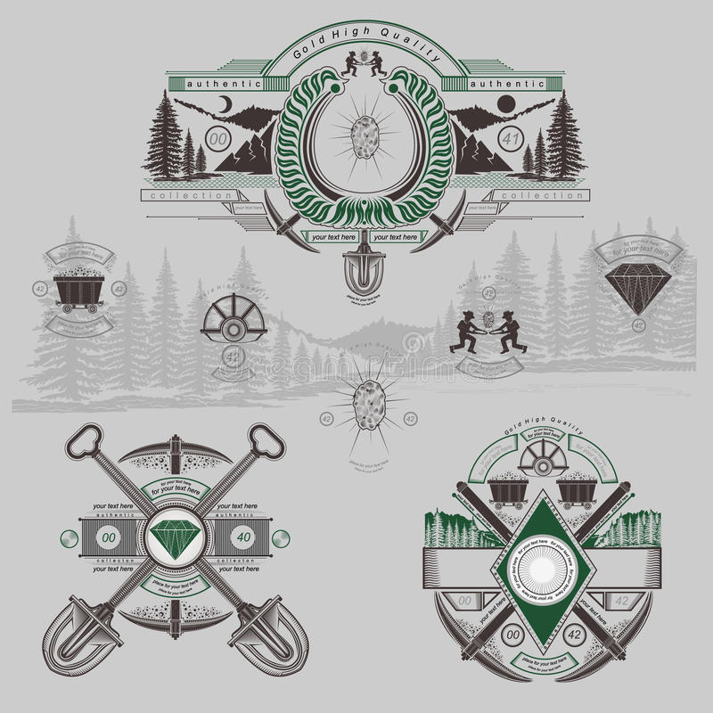 Vintage golden and diamond mining engraving labels. With tools vector illustration