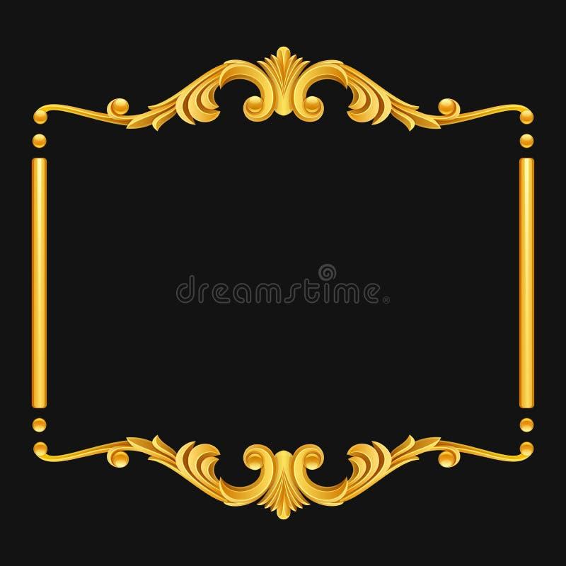 Vintage golden frame on dark background royalty free illustration