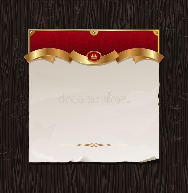 Vintage golden frame with paper banner royalty free illustration