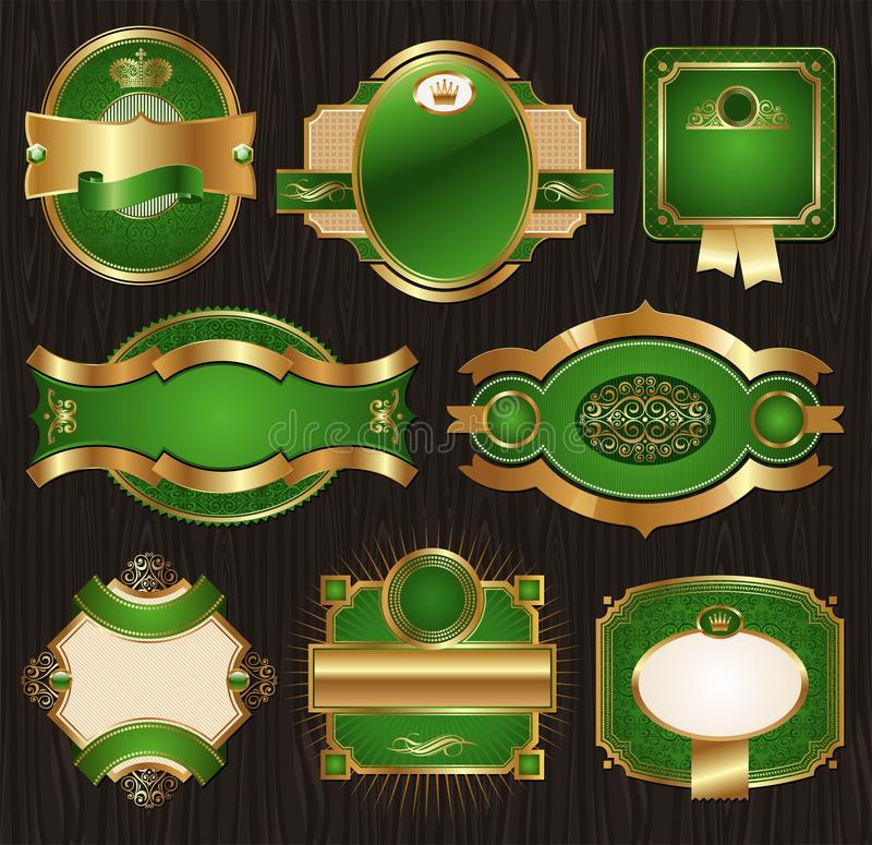 Free Vintage Golden-green Luxury Ornate Framed Labels Royalty Free Stock Photos - 18638258