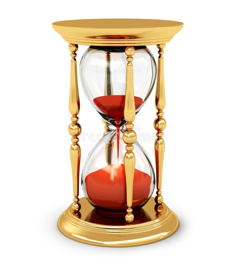 Vintage golden hourglass stock illustration