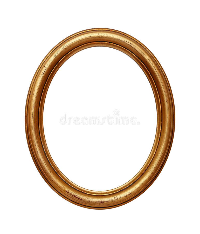 Vintage golden oval round picture frame royalty free stock photography