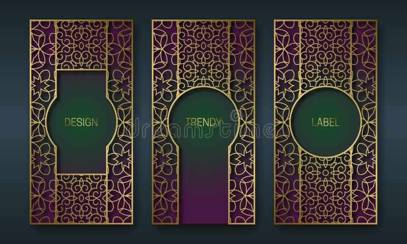 Vintage golden packaging design in oriental style. Set of ornate labels templates for trendy goods. Arabesque backgrounds with royalty free illustration