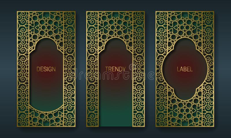 Vintage golden packaging design in oriental style. Set of ornate labels templates for trendy goods. Arabesque backgrounds with vector illustration