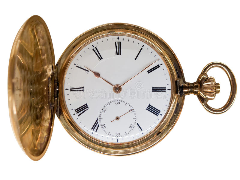 Vintage golden pocket watch, isolated on white. Vintage golden pocket watch, aged 1912, from Switzerland, isolated on white royalty free stock photography