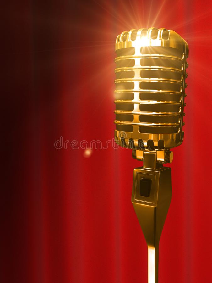Download Vintage Golden Shine Microphone And Red Curtain Backdrop 3D Ren Editorial Photography