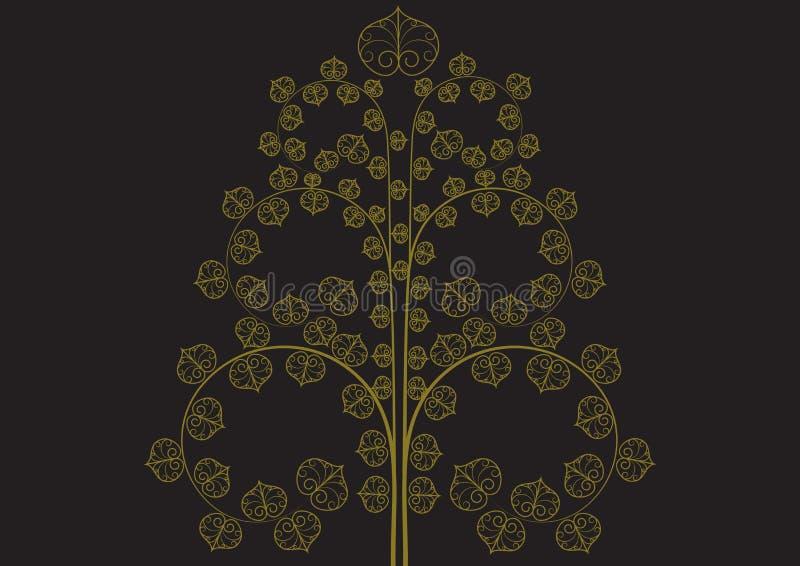 Vintage golden tree on black background vector illustration