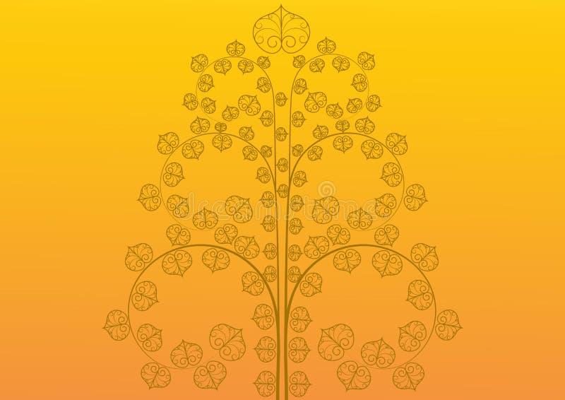 Vintage golden tree on golden background royalty free illustration