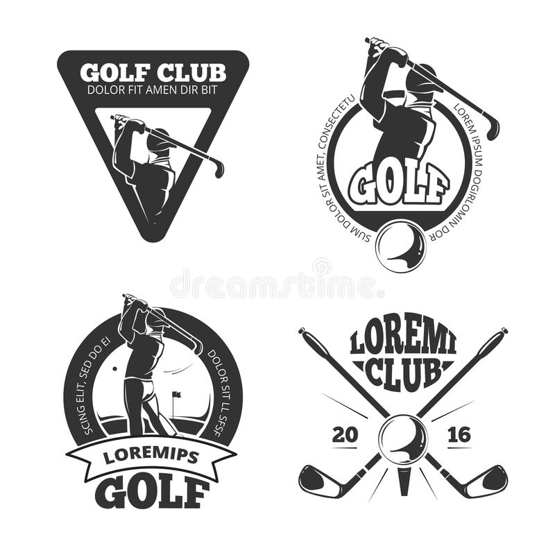 Vintage golf club vector labels, emblems, badges and logos vector illustration