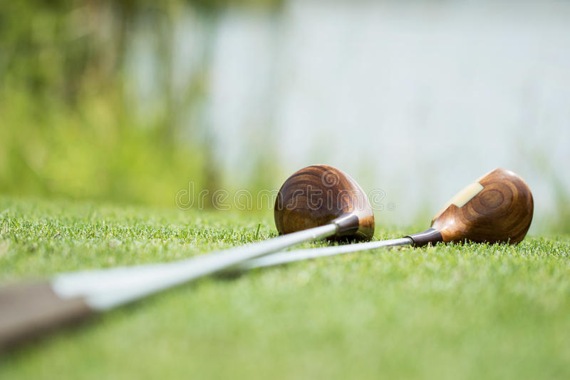 Vintage golf clubs stock photography