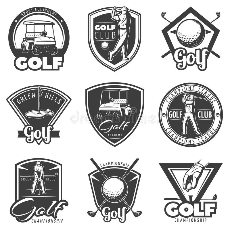 Vintage Golf Labels Set stock illustration