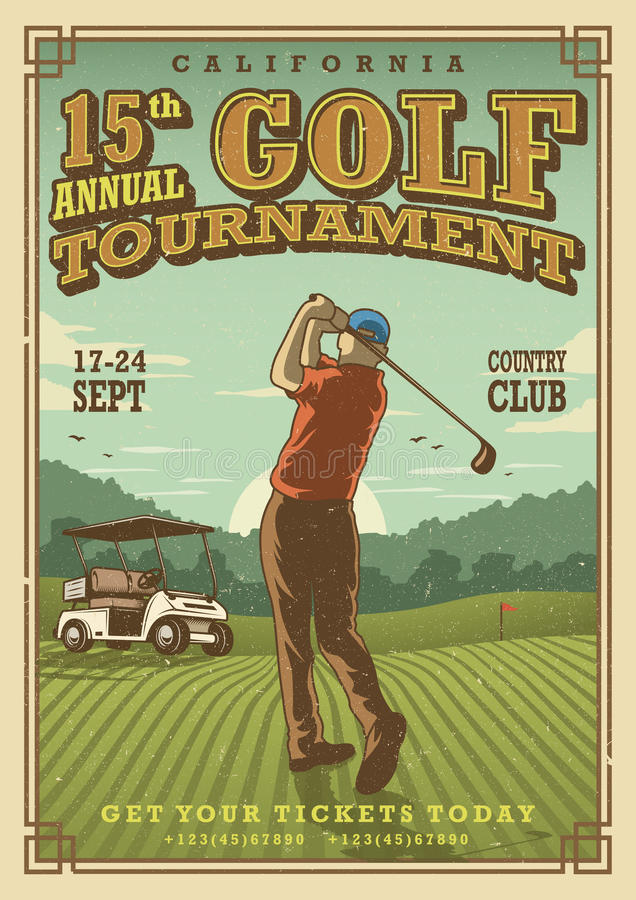 Vintage golf poster vector illustration