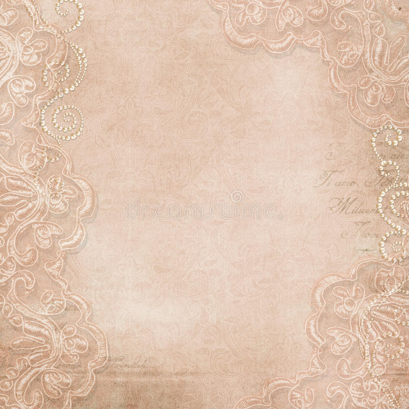 Vintage gorgeous background with lace and pearls stock illustration