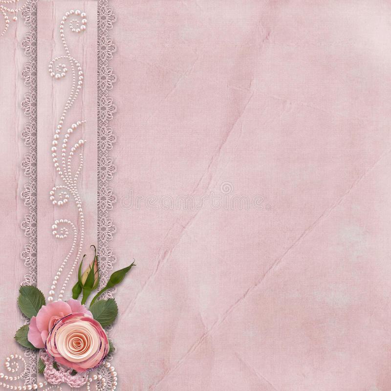 Vintage gorgeous background with lace, roses, pearls vector illustration