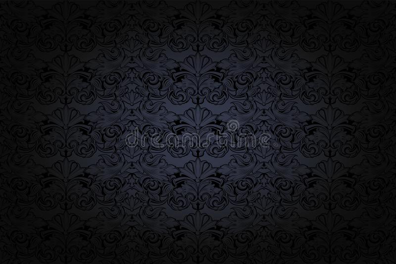 Vintage Gothic background in dark grey and black. With classic Baroque pattern, Rococo with darkened edges stock illustration