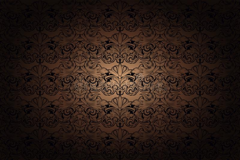 Vintage Gothic background in gold, bronze, caramel, chocolate, and black. With classic Baroque pattern, Rococo with darkened edges stock illustration